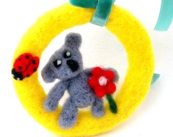 Koala bear ornament - Felted ornament - Yellow nursery decor - Cute koala bear - wool felted