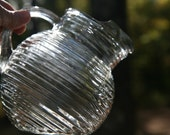 Depression Glass Anchor Hocking Manhattan Crystal Pitcher