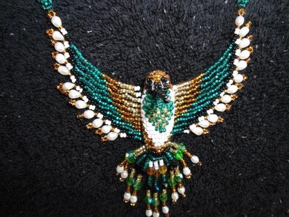 Vintage Native American Beaded Hummingbird necklace