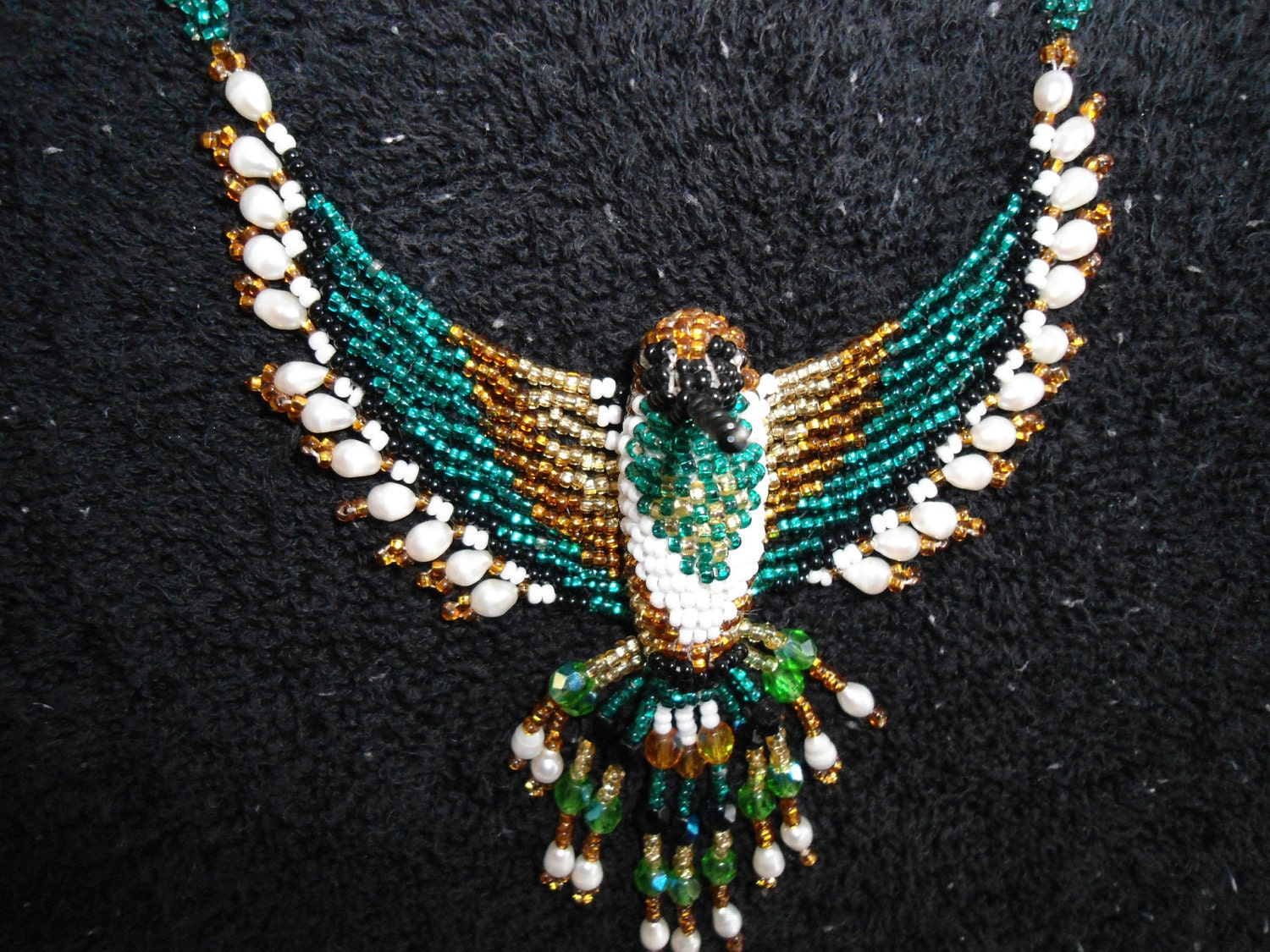 Vintage Native American Beaded Hummingbird Necklace