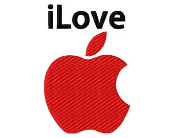 4x4  hoop size  iLove Apple  Logo  Inspired  digital embroidery design