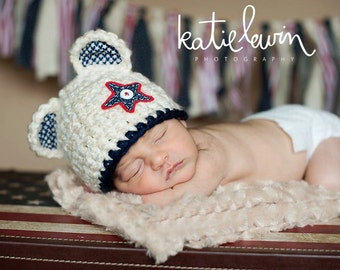 Baby Bear Hat - Patriotic Hat - Photography Prop - Red White and Blue