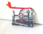 London Pouch, Cosmetic Bag, Modern Purse, Gray and Red Money Purse, Coin Purse, London Underground, Make Up Pouch