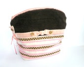 Zippered Clutch Pink and Brown Handbag, Cosmetic Bag, Make up Purse, Velvet Pouch