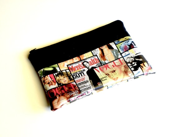RESERVED FOR NICOLE - Black Cosmetic Bag, Clutch, Make up Bag, Cosmetic Pouch, Black Handbag, Magazine Purse
