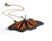 Monarch Butterfly Necklace, Shrink Plastic Jewelry, Insect, Entomology, Orange and Black, Wearable Art - PeriwinkleNuthatch