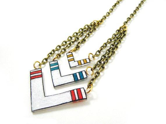 Chevron Necklace, Shrink Plastic Jewelry, Arrow, Red, Turquoise, Ochre, Southwest, Native American, Wearable Art