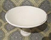 Large Shabby Chic Decorative Wood Pedistal Bowl