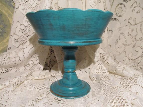 Shabby Chic Decorative Wood Pedistal Bowl