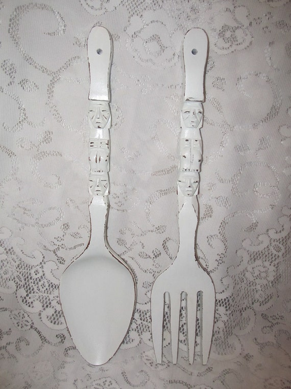 Vintage Shabby Chic Fork And Spoon Wall Decor