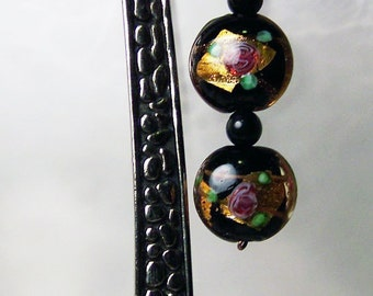 Large silver-tone bookmark with painted glass beads