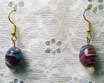 Purple & Blue Glass Earrings