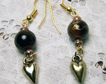Brown & Gold Beaded Dangle Earrings with Antique Gold-toned Hearts