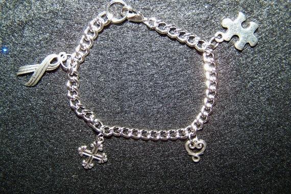 Silver-tone Autism Awareness Charm Bracelet