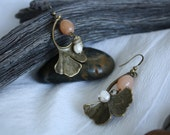 Handmade, Art Nouveau dangle earrings freshwater pearls and vintage peach glass beads.