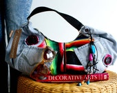 Handmade Recycled jean hobo shoulder bag bright tapestry inserts with colorful dangles.