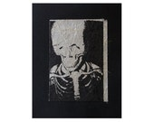Skeleton - Limited Edition Fine Art Print - Hand Printed - Screenprint with Chine Collé - 4 x 5 inches
