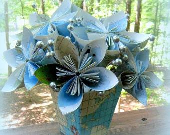 Handmade Bouquet of Vintage Map Kusudama Flowers in Ceramic Map Vase
