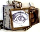 Unusual Antiqued Bronze 3 Charm Anatomy Necklace Steampunk Mystical