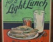 1920s lunch sandwiches coffee shop sign sturdy Douglas fir wall plaque 3