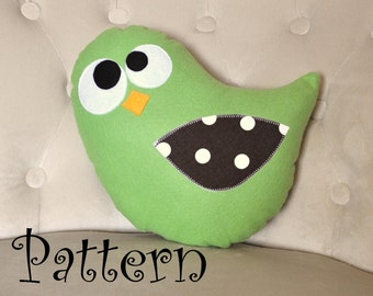 Bird Plush Pillow PDF - Tweeter the Bird Plush Pillow Tutorial Printable e pattern e book DIY