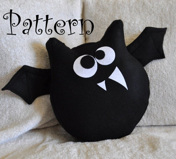 Bat Pattern PDF -Jugular the Bat  Plush Pillow PDF Tutorial How to DIY epattern Halloween