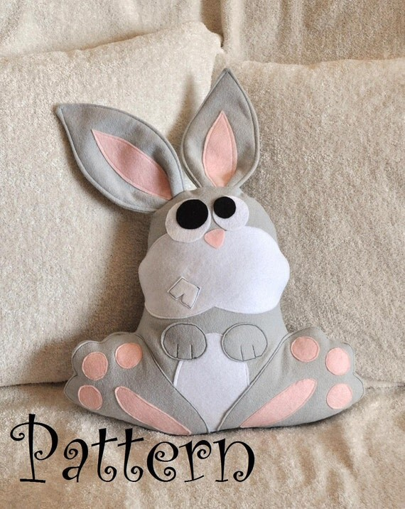 Easter Bunny Pattern PDF -Hops the Bunny Pillow PDF Tutorial How to DIY epattern