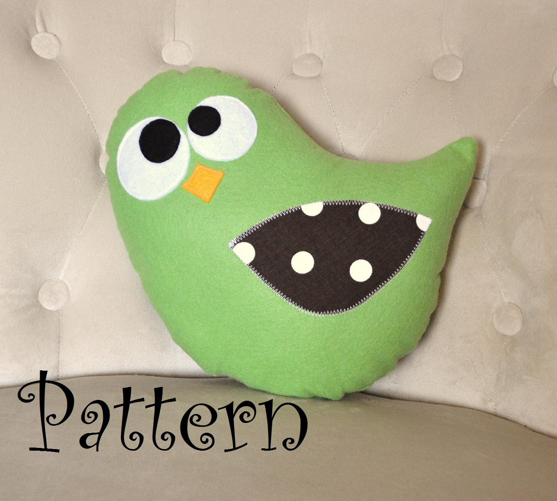 How To Sew Animal Pillows : Bird Plush Pillow PDF Tweeter the Bird Plush Pillow Tutorial