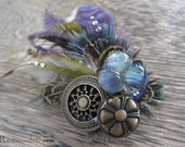 Fairy Glass Egg & Brass Button Lavender Olive Feather Brooch/Fascinator Clip (bh002)