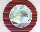 Round Wall Mirror - Red