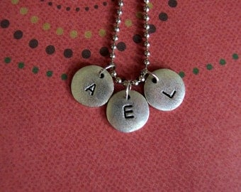 Handstamped metal personalized small circle tag initial necklace simple yet unique mothers girls