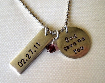 God gave me you hand stamped necklace personalized wedding date or child's birthdate with pearl or birthstone.  Valentines Day