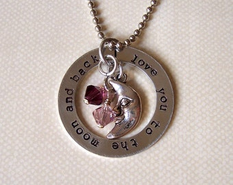 Love you to the moon and back necklace with birthstones or pearl metal stamped mothers star