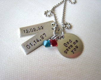 God gave me you personalized hand stamped silver necklace for wedding anniversary mothers bridal gift, child's name