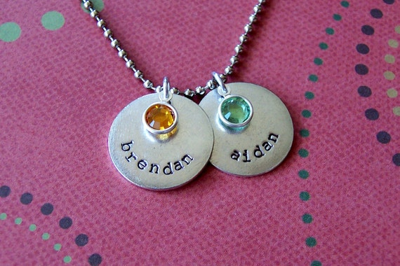 Personalized hand stamped antiqued metal mother's necklace with birthstones names