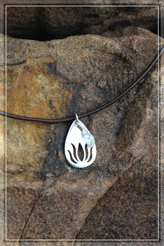 SALE ----- Sterling Silver Lotus and Crystal Pendant