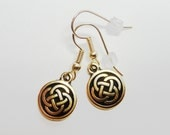 Celtic Knot Round Earrings - 22K gold plated pewter