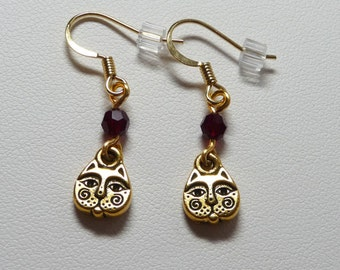 Cat Face Earrings - Antique Gold plated pewter