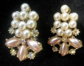 VTG 50s pink, pearl and rhinestone earrings--very very pretty