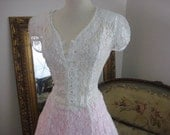 Reserved for Alex-Vtg 80s pure white long sheer dress with clear buttons - adjustable to many sizes with back lacing