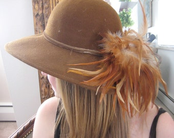 Wide Brim Fedora Hat/Huge Plume of Pheasant Feathers/Brown/NEVER WORN--Still with tags/Vintage 1970s/70s