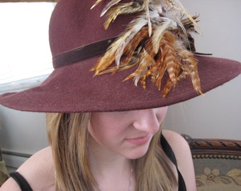 Wide Brim Fedora Hat/Feathers /Feathered/Huge Pheasant Feathers/1970s hat/NEVER WORN//Vintage70s/1970s