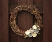 Winter Wreath, White Holiday Christmas Grapevine Wreath- 12 Inches