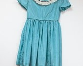 On Reserve 50s 1950s Girls Ocean Blue Taffeta Party Dress with Lace Detail MadMen Kids