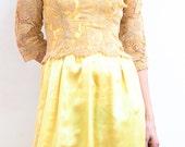 Vintage 1960s Lemon Ice Yellow Lace Cocktail Dress// Prom// Party Dress SALE