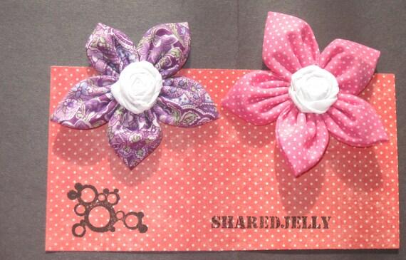 Set of 2 Fabric Flower Bobby Pins -Pink & Purple