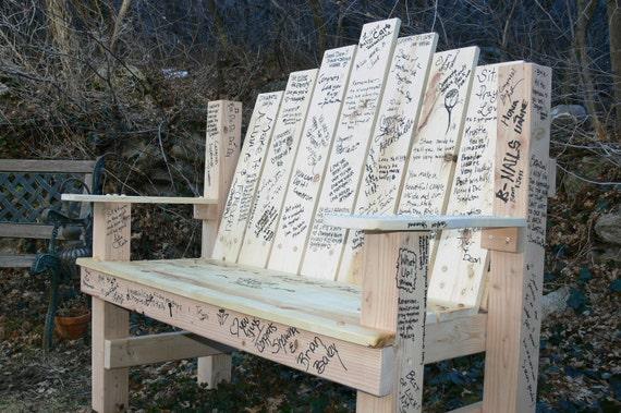 Guest Book Alternative Sign In Wood Engraved Garden Bench