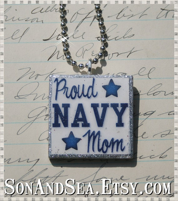 Navy Mom US Navy Pride pendant necklace by Son and Sea FREE US  shipping