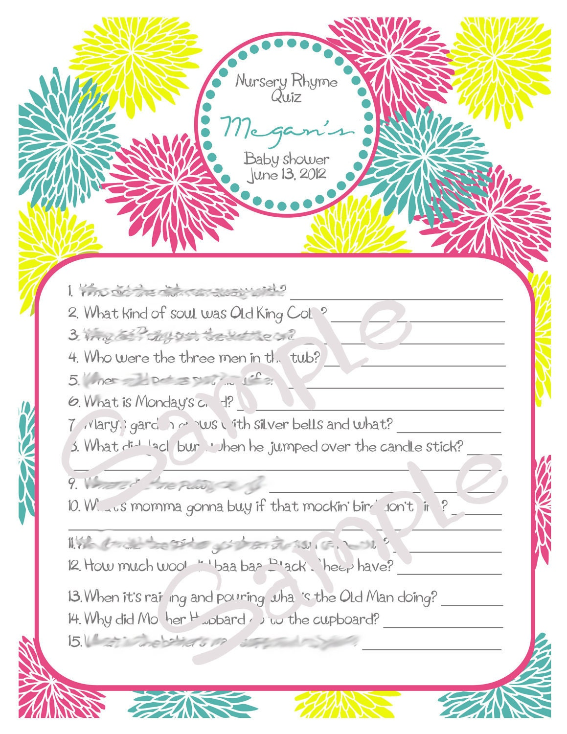 nursery rhyme quiz printable custom baby shower game