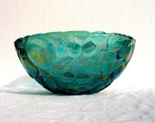 50's Vintage Kitchen Blue Green Carnival Glass Bowl - Holiday Entertaining - Mid Century